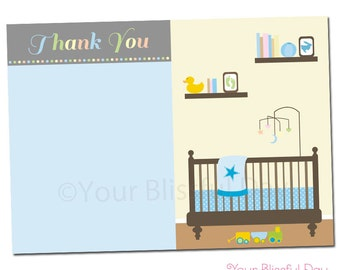 PRINTABLE Sip & See Baby Boy Thank You Cards #210