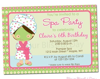 PRINTABLE Girl Spa Party Invitation (Character of your choice) #586