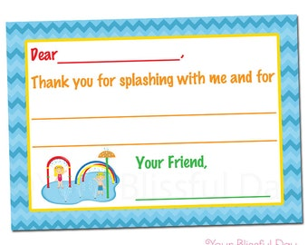 PRINTABLE Splash Pad Fill-in-the-Blank Thank You Cards #588