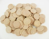 "100 Wood Disc 1"" Beveled Rounded Edge Wood Disk Unfinished Wood Disc Cutouts Pendant Circle"