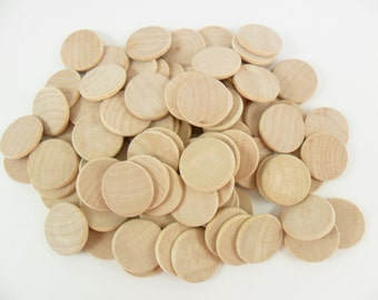 "100 Wood Disc 1"" Beveled Rounded Edge Wood Disk Unfinished Wood Disc Cutouts Pendant Circle"