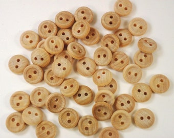 "50 Wood Buttons 5/8"" Two Hole Unfinished Wood Buttons 16 mm"