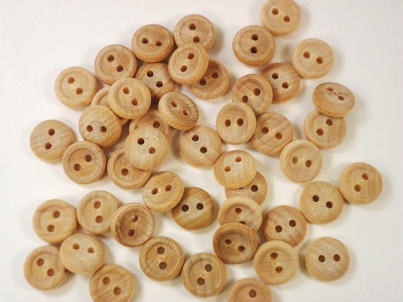 """50 Wood Buttons 5/8"""" Two Hole Unfinished Wood Buttons 16 mm"""