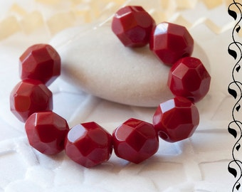 20 Czech Fire Polished Beads 6 mm Vinous Red