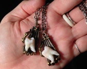 Tooth Fairy Series: Real Human Molar in Brass Biomechanical Hand Pendant Necklace