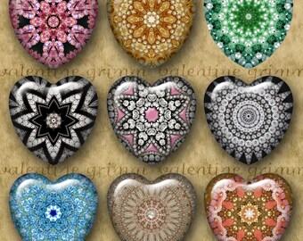 1 inch KALEIDOSCOPE GEMS Digital Printable Hearts collage sheet for Jewelry Pendants Magnets Crafts...mandala rhinestones OOAK