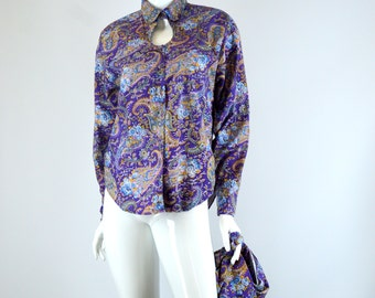 Womens Western Shirt, Peekaboo Chest with Shawl Collar, Purple Paisley Vintage 1980s Size large