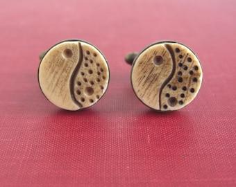 Carved Bone Yin & Yang Cuff Links