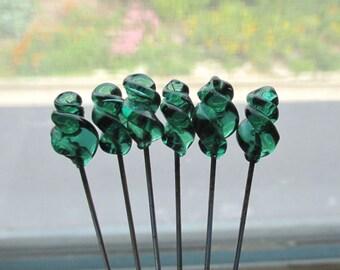 6 Vintage Green Glass Stick Pins