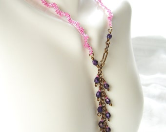 Reversible Necklace Pink Purple Ruffled Choker Berry Light Wedding Gift Summer
