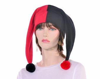Jester Hat in  Red Black Patchwork Pompoms Harlequin 2 Point Fleece