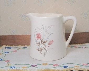 Vintage Salem China Milk Pitcher with Pink Rose Design