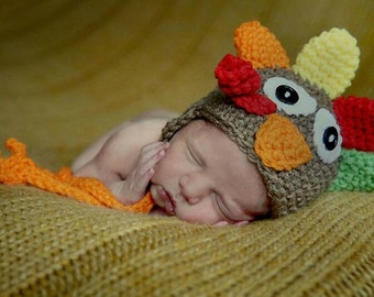 Turkey Hat Thanksgiving Hat Baby Turkey Hat Crochet Fall Hat Crochet Turkey Hat Turkey Photo Prop Boys Turkey Hat Cbbcreations