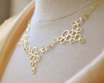 Gold Bubbles Bib Necklace- 14K Gold Filled Chain, Unique, Contemporary, Triangular, Modern, Simple, Statement Necklace, Geometric Pattern