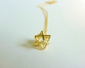 gold merkaba charm necklace-merkaba necklace-star charm necklace-yoga necklace-meditation necklace-gold star necklace-geometric necklace