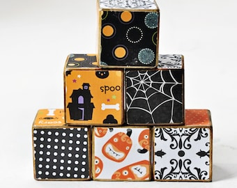 Decorative wooden blocks halloween