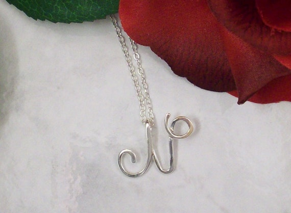 Smaller Calligraphy Initial Pendant in Sterling Silver, personalized jewelry