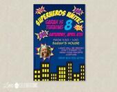 Superhero Birthday Party Invitation - Superhero Birthday Invitation - Cartoon Superhero Birthday Invites