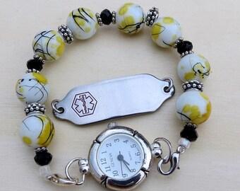 Interchangeable Watch or Medical ID Bracelet Stretchy Bracelet Beaded Bracelet Band