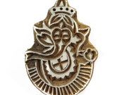 Handcarved Stamp Indian wooden printing block Art Pottery Stamps Textile Printing Block Ganesh Stamp 1 Pc PB896