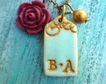 Valentine's Jewelry, Couple initials necklace, Gift for her on Valentine's Day, Valentine, Couple, Flower, Romantic, Gold