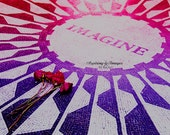 NYC Photography, Travel Wall Art, Pink and Purple NYC, John Lennon Memorial Photo, Imagine Home Decor, Strawberry Fields Print Red Roses