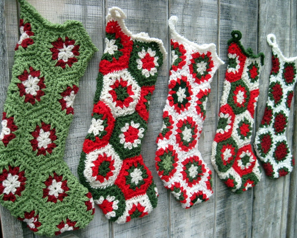 Custom-Made Four Crocheted Granny Square Christmas Stockings