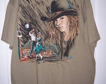 Tee Shirt, Cowgirl with Hat, Country Dancing, Olive Green, Rodeo Girl, Size XL, by Nana's Vintage Shop on Etsy