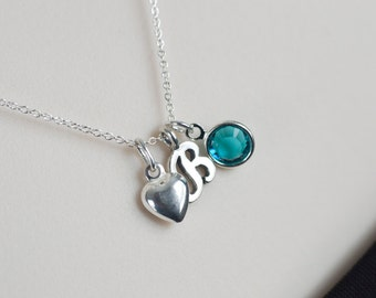 Birthstone Initial Necklace, Sterling Silver Personalized Necklace - Swarovski Birthstone, Sterling Silver Tiny Heart Charm and Letter Charm