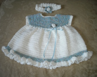 Touch of Blue Dress and Headband for 12 to 18 Months