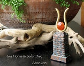 The Goddess Isis Horns and Red Carnelian Solar Disk Altar Piece - Bronze and Brass Patina Finishes - Handmade Icon3