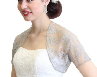 Bridal Shrug, Silver bridal Lace Bolero, bridal Lace Jacket, wedding jacket 720ROS-Silver