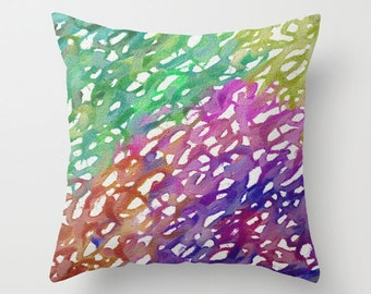 Decorative Pillow Cover - Rainbow Painting - Throw Pillow Cushion - Home Decor