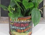 Vintage Buckingham Cut Plug Smoking Tobacco Tin - Planter - Rustic Storage - Advertising Tin