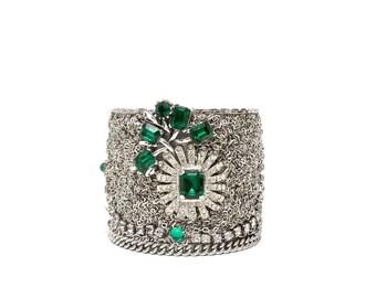 Vintage Wedding Cuff Bracelet, Emerald Rhinestones by Dabchick Vintage Gems