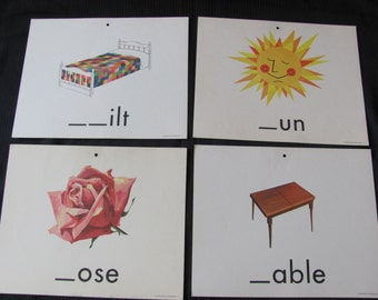 Old School Large Flash Card Poster - Consonant - Choice of Rose Table Sun Quilt