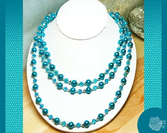 "76"" Turquoise Blue Wrapable Necklace Czech Pearls Czech Aquamarine Crystals Silver Magnetic Clasp Coordinating Earrings Available Separately"