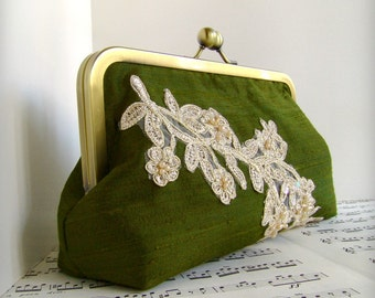 Personalized bridesmaid gift, wedding clutch, framed custom silk clutch with beaded lace applique,