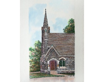 "Stone Church Watercolor Pen and Ink 7"" x 13"" Indiana Wall Home Decor Original Architectural Art Fine Art"