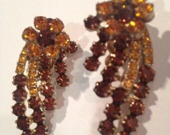 Reduced Juliana Rhinestone Earrings amber