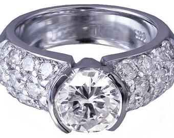 14k white gold round cut diamond engagement ring semi bezel set 2.00ctw