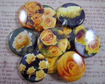 "Rose Magnets, Yellow Rose Magnets, Rose Pins, Yellow Rose Pins, Rose Cabochons,  Fridge Magnets, 1"" Flat, Hollow Bk, Cabochons, 12 ct"