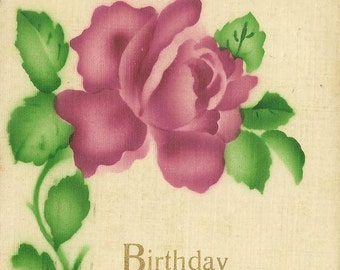 Silk Vintage Birthday Postcard Purple Pink Rose Beautiful Colors and Image 1915