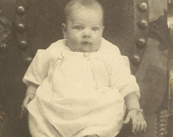 Black and White Baby Photo on RPPC Wesley at 5 Months Old 1930 Unused Real Photo Postcard Instant Ancestor