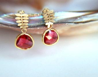 Fuchsia crystal Earrings:Gold plated brass earring hooks with fuchsia  crystal, gold plated leaf studs earring, wedding, bridesmaid