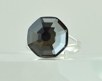 Solaris Swarovski Crystal Cocktail Ring, Black Diamond Adjustable Ring Size 6, 7, 8, 9, Crystal Statement Ring, Unique Octagon Fashion Ring