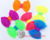 58mm 6/12/24pcs Jumbo Large Neon Color Rhinestone Bow Bows Flatback Resin Cabochons