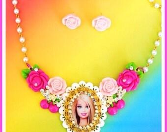 Swarovski Crystal Barbie Bib Necklace and Earring Set