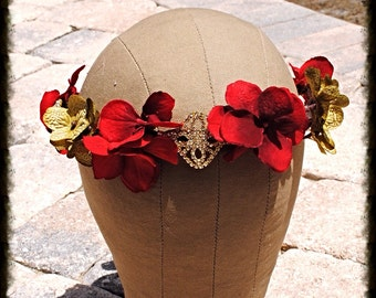 Red and Green Floral and Crystal Vine Wedding Bridel Boho Headband