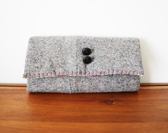 Upcycled Speckled Grey Wool Trifold Clutch Wallet with Buttons